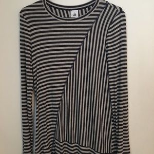 Cabi Ling Sleeve Tunic Length Striped Top